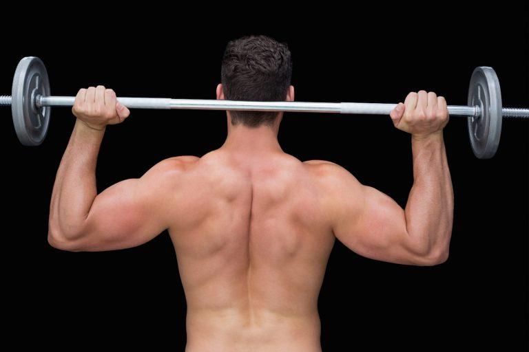 lifting up barbell behind head