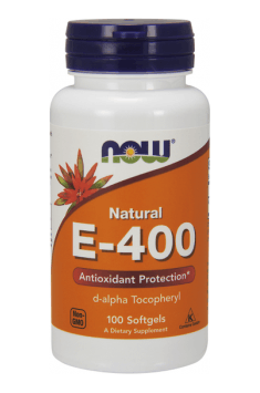 E-400 from NOW Foods is natural supplement containing the most bioaviabile form of Vitamin E d-alpha Tocopheryl