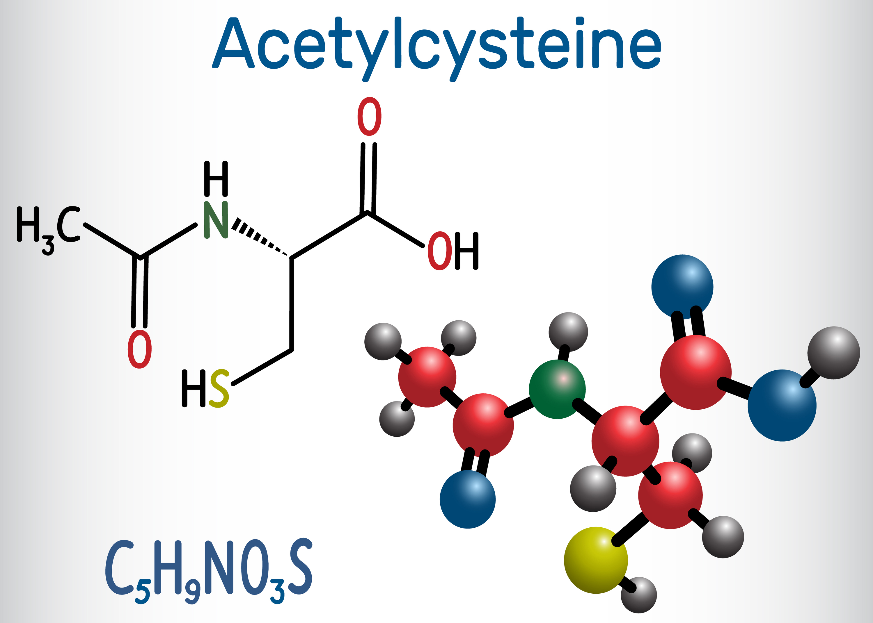 Acetylcysteine (N-acetylcysteine, NAC) drug molecule. Structural chemical formula and molecule model. Cysteine and NAC.