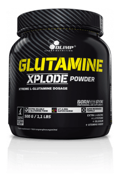 Recommended glutamine supplement. which also contains beneficial addition of selenium, leucine, cysteine and B-vitamins - Glutamine Xplode from Olimp