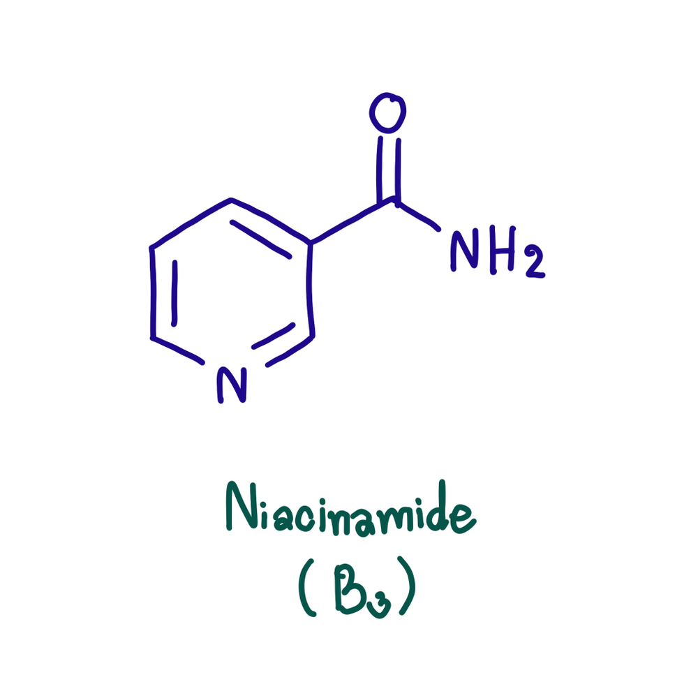Niacinamide - chemical formula of vitamin B3 derivative
