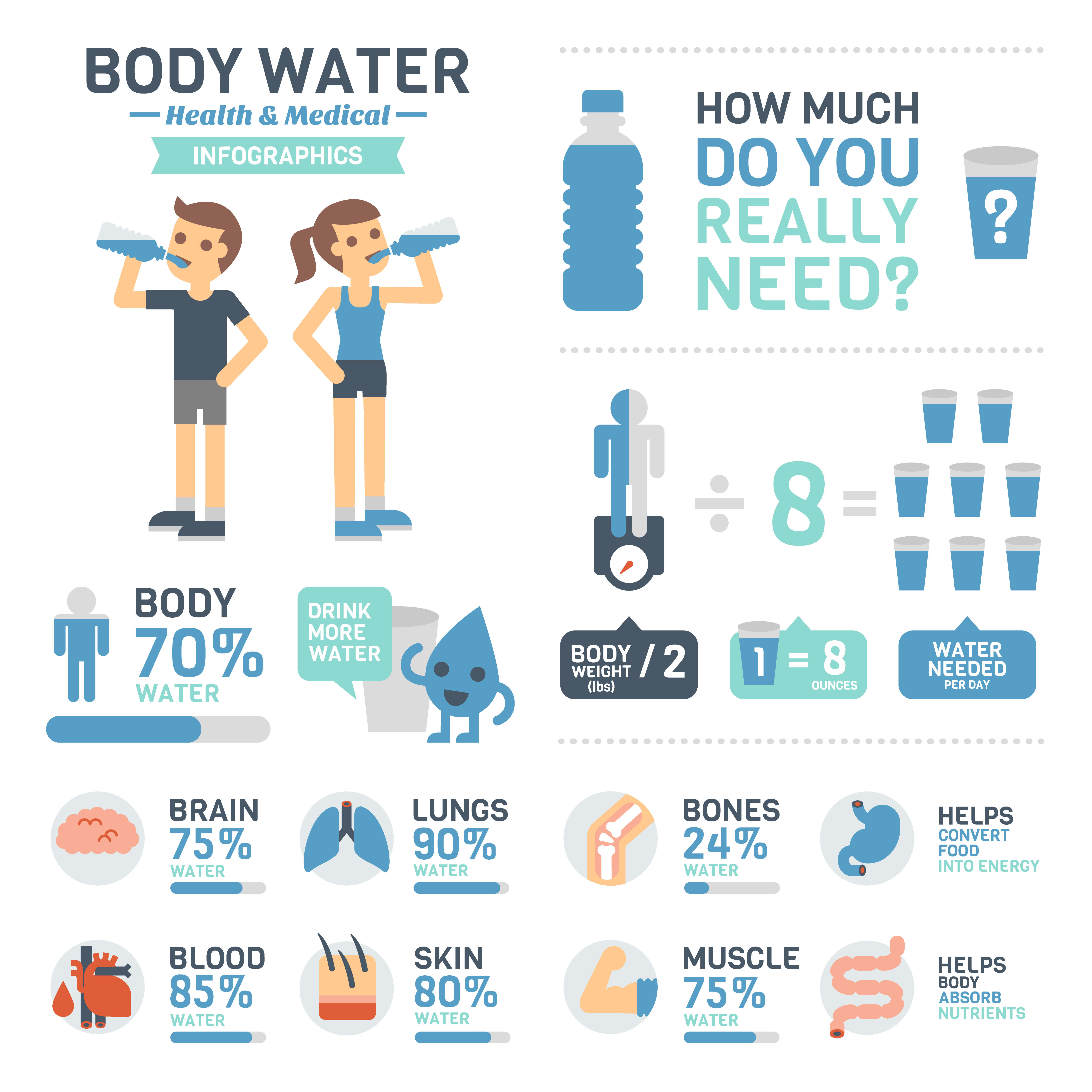Infographic about water - water functions, and recommended daily intake