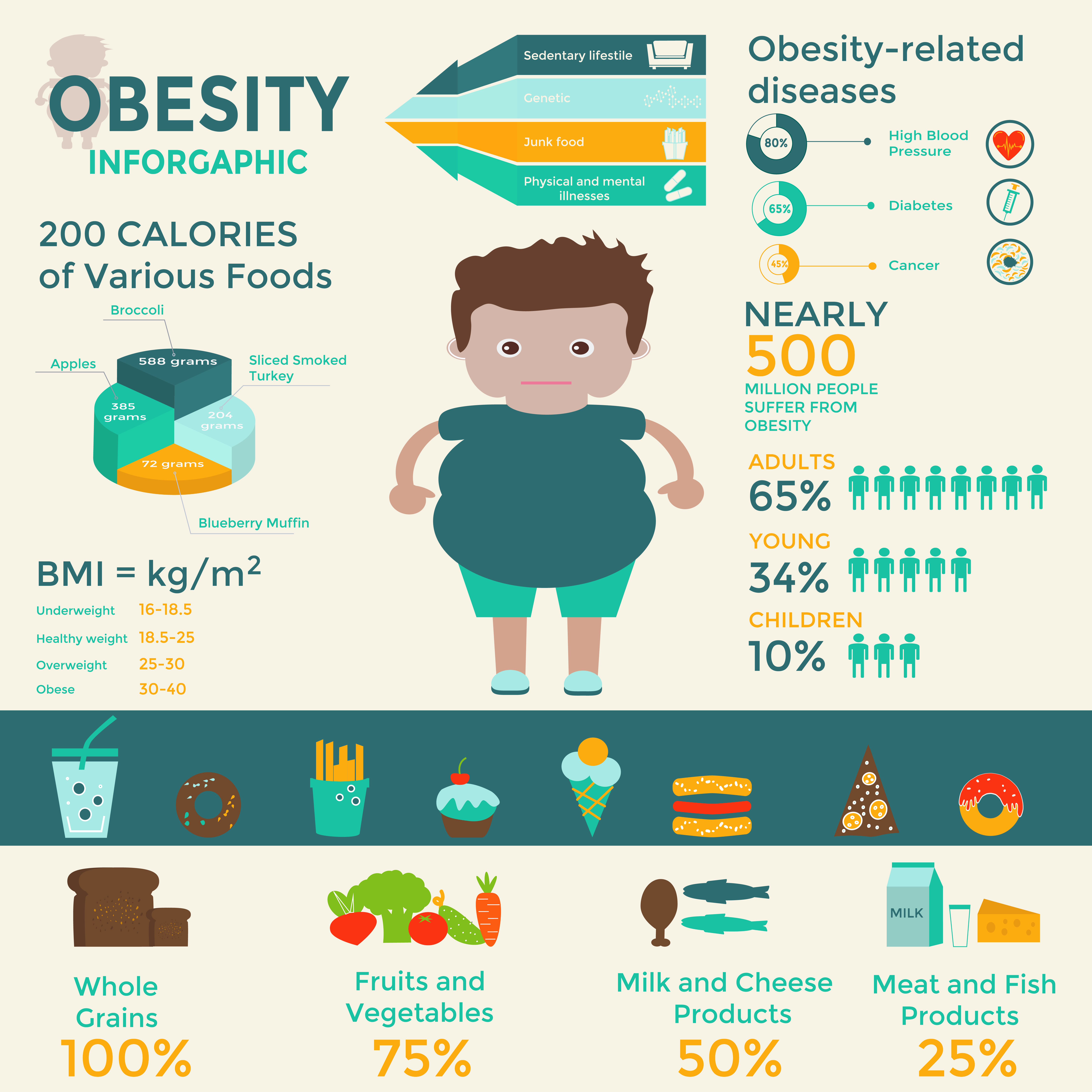 BMI and obesity - a short summary of obesity on infographic