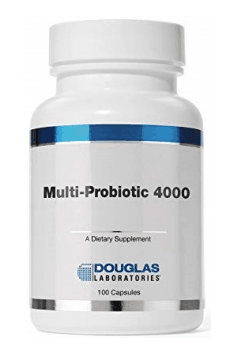 Multi-Probiotic 4000 from Douglas Laboratories is the most complex synbiotic, containing combination of probiotics and prebiotics