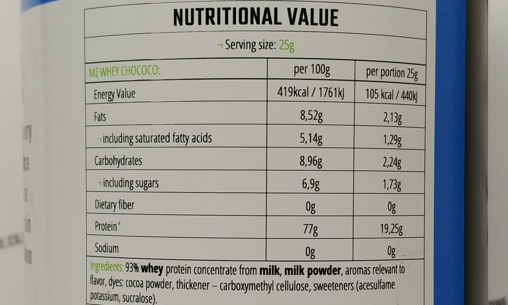 Nutritional value of WPC Econo from MZ Store