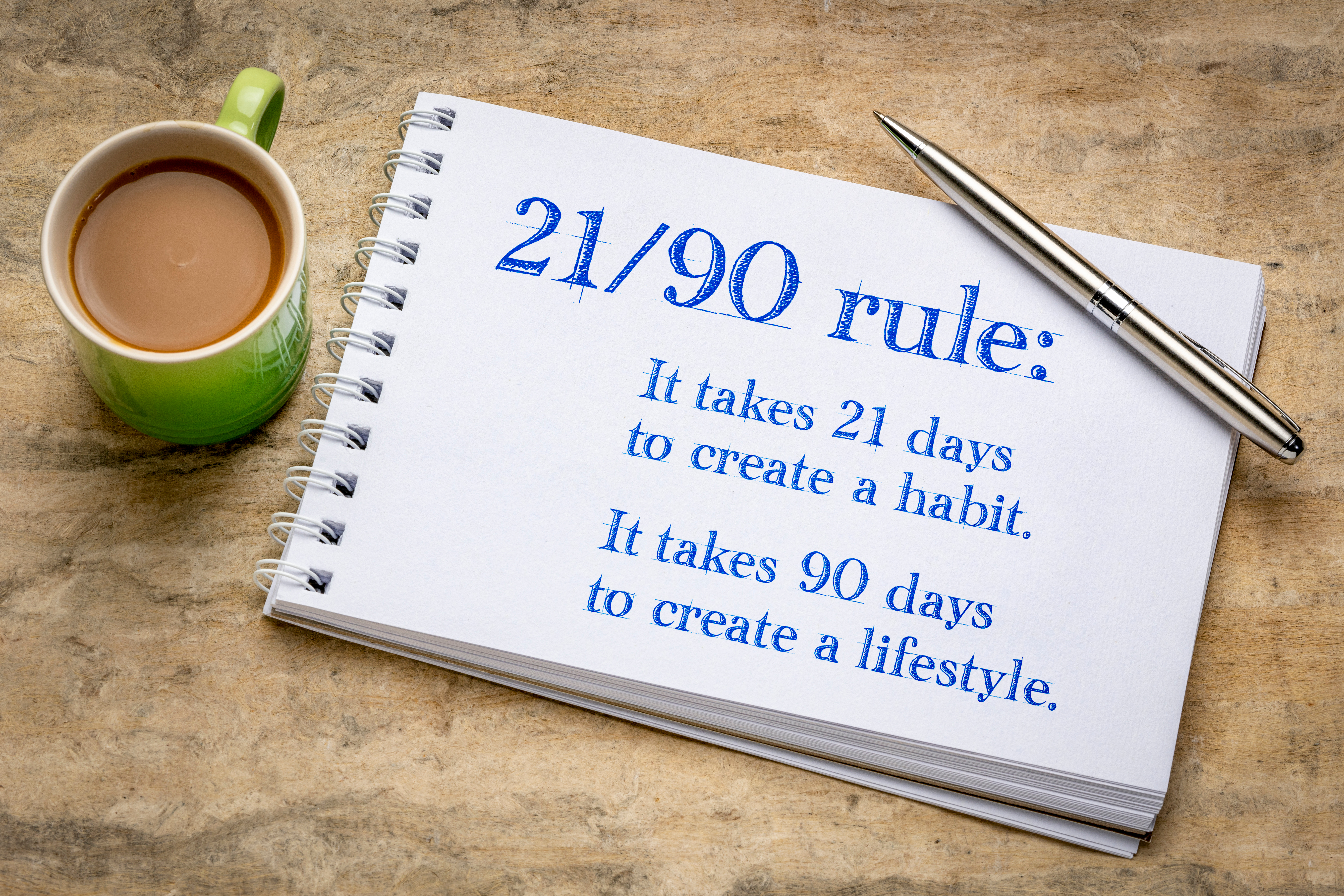 21 days to habit, 90 to new lifestyle!