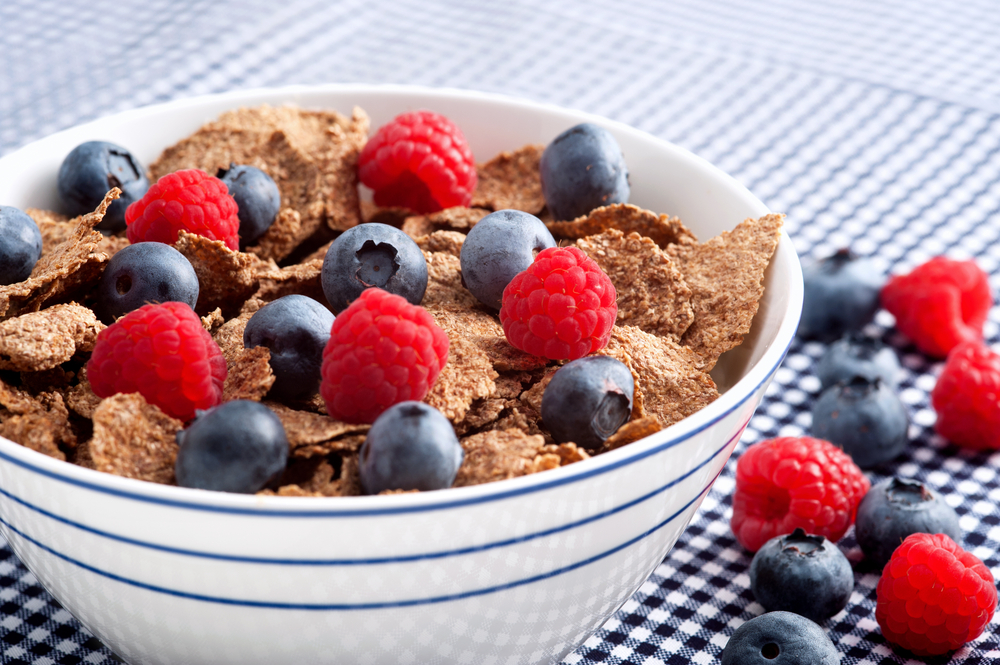 A great way to increase a dietary fibre intake is a whole-grain cereals with forest fruits at the breakfast