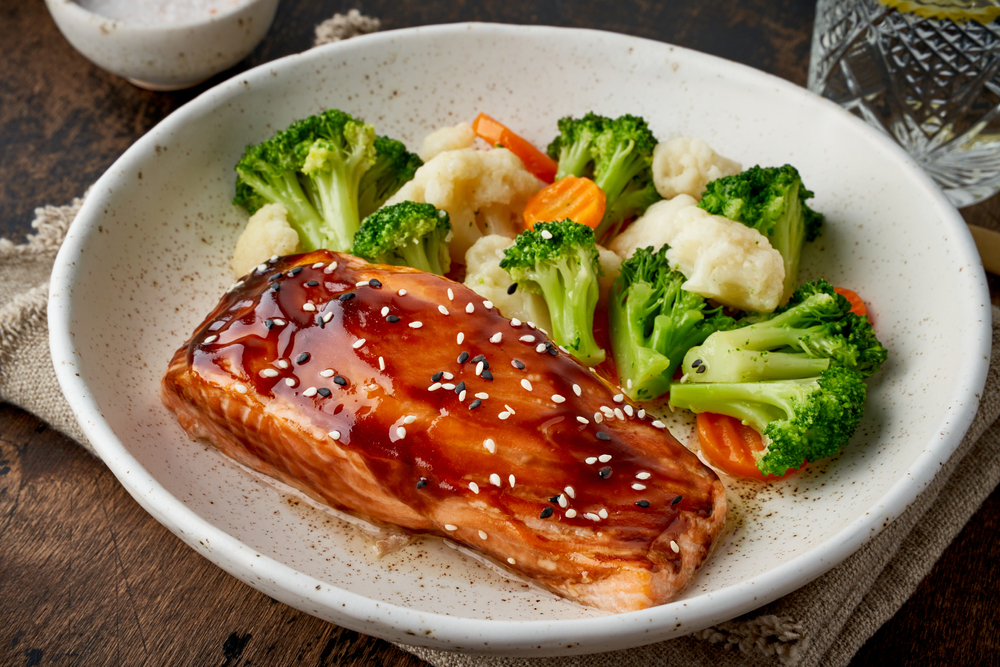 Idea for GAPS diet dinner - Steamed Salmon with Vegetables